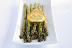 Baked Asparagus with Lemon, Butter and Parmesan.