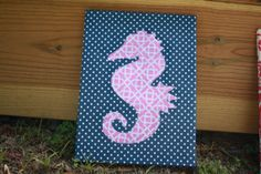 Navy Dot Seahorse Canvas by SaltyKisses3 on Etsy, $20.00