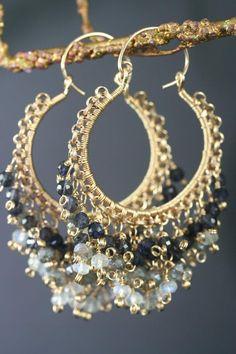 Wire wrapped hoops earrings