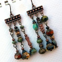 Beaded Dangle Earrings   Incense Peace and Love  by Msemrick, $28.00