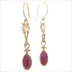 DEW DROP EARRING WITH OVAL RUBIES