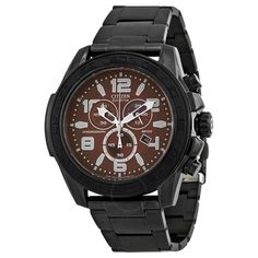 Citizen Drive Brown Dial Chronograph Black IP Stainless Steel Men's Watch AT2275-56X - Eco-Drive - Citizen - Watches - Jomashop