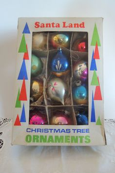 12 GLASS ORNAMENTS In original box by BlueBarnCollectibles on Etsy, $19.00