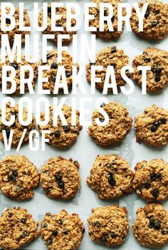 1-Bowl HEALTHY Blueberry Muffin Breakfast Cookies! Easy, naturally sweetened, super tender and nutritious! #vegan #glutenfree #breakfast #recipe #cookie