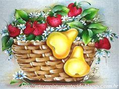 Pintura Em Tecido - Passo a Passo para fazer Cesta de Frutas Morangos e Peras