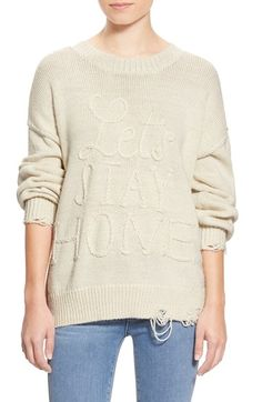 Wildfox 'Let's Stay Home' Distressed Sweater available at #Nordstrom