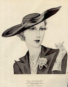 1930s Jeanne Lanvin Hat ~ LÁMINAS ANTIGUAS 3-Ideas y Trabajos terminados (pág. 633) | Aprender manualidades es facilisimo.com