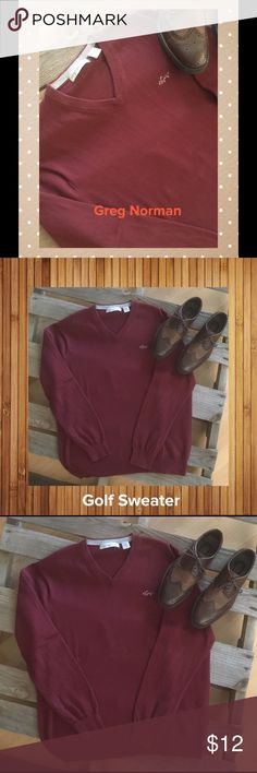 Men's Golf Sweater🏌🏌🏌 Maroon in Color... Greg Norman Sweaters V-Neck