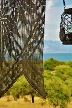 Handmade summer lace curtain.