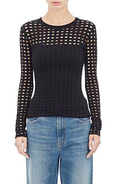 Circular-Cutout Long-Sleeve T-Shirt