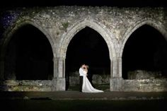 Cloisters at night. Wedding venue at Beaulieu in the New Forest. Image courtsey of Concept Photographic