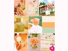 Decoração do casamento com pêssego e verde