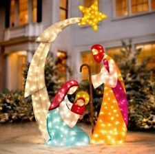 """73"""" Lighted Pre Lit NATIVITY HOLY FAMILY SCENE Christmas Outdoor Holiday Decor"""