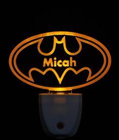 Batman Bat Signal Light Sensor LED Plug In Night Light, Personalized Custom LED Nightlight by NeedForLight on Etsy