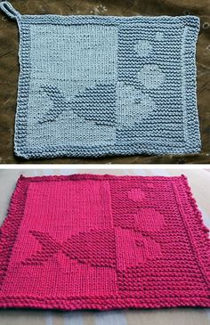 Free knitting pattern for fish cloth easy cloth with a fish with bubbles in knit and purl stitches rated very easy by ravelrers designed by pictured projects by minja and margotida available in english and german knitted dishcloth ideas free patterns Knitted Washcloth Patterns, Knitted Washcloths, Dishcloth Knitting Patterns, Knitting Stitches, Crochet Blankets, Easy Knitting Projects, Knitting Blogs, Knitting For Beginners, Free Knitting
