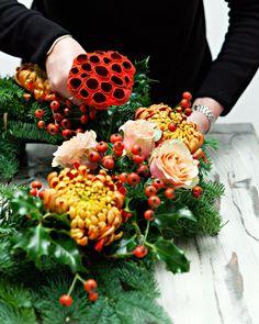 DIY-Christmas-Wreath-Step 5- Add lotus pods