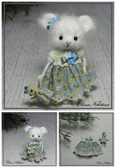 Мышка с куклой. Рост мышки 6-7 см  mousy, crochetmouse