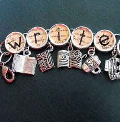Writer's Charm Bracelet..I would love to have this!
