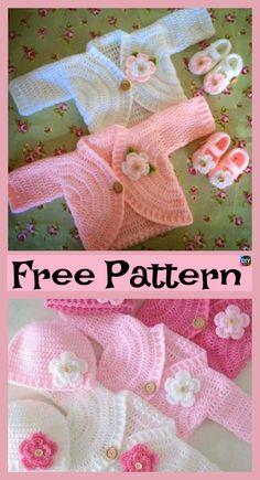 Pretty Crochet Kids Coat – Free Patterns #freecrochetpatterns #coat #cardigan #gift