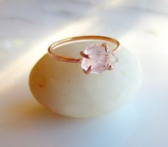 Raw Rose Quartz Ring Rough Pink Stone Ring by AlisonTitusJewelry