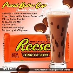 The Peanut Butter Cup Protein Shake Recipe - 2 Scoops Chocolate Whey Protein Shake Mix, tsp. Reduced-Fat Peanut Butter or Instead of almond milk use protein shake chocolate for the liquid. Protein Smoothies, Protein Muffins, Smoothie Proteine, Whey Protein Shakes, Chocolate Protein Shakes, Apple Smoothies, Healthy Shakes, Healthy Drinks, Protein Cookies