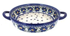 Polish Pottery Spring Blossom Small Round Casserole with Handles -- Click image to review more details.
