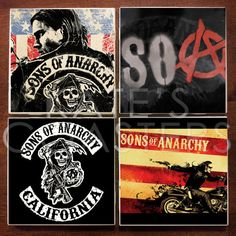 $10 ~ Set of 4 Sons of Anarchy sublimation ceramic tile coasters by KatesCoasters