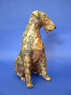 Artist: Lesley Martin from London potters . Paper Mache Sculpture, Dog Sculpture, Pottery Sculpture, Animal Sculptures, Ceramic Sculptures, Ceramic Animals, Clay Animals, Pottery Animals, Fox Terrier