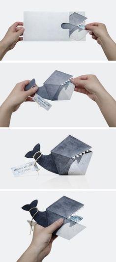 creative whale invitation or birthday card craft--whale origami Origami Paper, Diy Paper, Paper Art, Paper Crafts, Bug Crafts, Paper Book, Birthday Invitations, Birthday Cards, Origami Birthday Card