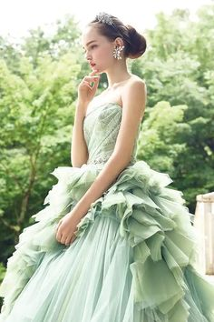 This pastel green gown from Four Sis & Co. is enchanting us with refreshing sweet romance! Ball Dresses, Ball Gowns, Prom Dresses, Formal Dresses, Bridal Gowns, Wedding Gowns, Green Gown, Gown Pattern, Most Beautiful Dresses