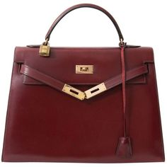 BAG HERMÈS (£4,705) ❤ liked on Polyvore featuring bags, handbags, real leather handbags, hermès, hermes handbags, leather handbags and red leather handbag