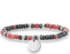 Thomas Sabo Bracelet Love Bridge Haematite Pink Jasper White Agate Silver 15.5cm