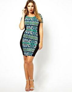 ASOS CURVE Exclusive Body-Conscious Dress In Tribal Print With Panels $44.50