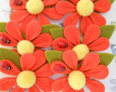 Felt Flowers Assorted Appliques 36 pcs by lallehandmade on Etsy