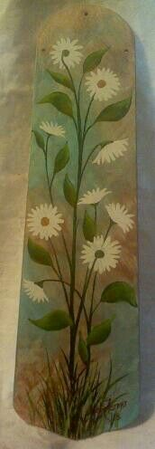 Painted on recycled ceiling fan blade in acrylic by me, Misty Farmer. $20   From my facebook page : Artwork by Misty Farmer