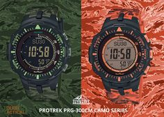 THE NEW PROTREK PRG-300CM CAMOUFLAGE SERIES. The green one is awesome color!