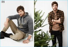 Top model Justice Joslin wears relaxed styles by LE 31 with Volcom boots for Simons.