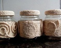 Diy Crafts - This post was discovered by Aygin Baykal. Discover (and save!) your own Posts on Unirazi. Diy Crafts For Home Decor, Handmade Home Decor, Handmade Crafts, Mason Jar Crafts, Bottle Crafts, Twine Crafts, Rope Decor, Sisal, Bottle Art