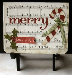 "Cute ""Merry"" Card...with sheet music paper & candy cane embellishment.  Picture only for inspiration."