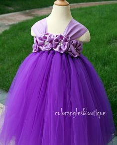 Thanks for visiting :)  This listing is selling size newborn to 6T , If you need a larger size please contact me and I will listing a custom link for you . This tutu dress is made with dark purple tulle , White crochet top , In the center of the flowers have a pearl, Its perfect for portrait pictures, flower girl dress Birthday Party ~ . All tutu dresses are made with 100% Nylon tulle , This dress you can change with any color of tulle/Flowers/Crochet top you like , If you need ma...