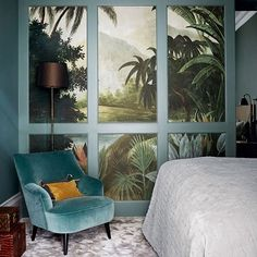 Small Bedroom With Wallpapered Walk-in Wardrobe