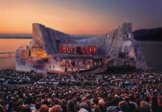 Carmen...  The world's most incredible floating stage is located on the shore of Lake Constance in Bregenz, Austria. Every two years, the stage gets completely redesigned for the Bregenzer performing arts festival.