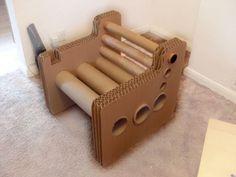 Card chair. Cardboard Chair, Diy Cardboard Furniture, Paper Furniture, Cardboard Design, Cardboard Sculpture, Cardboard Playhouse, Coaster Furniture, Cardboard Tube Crafts, Cardboard Paper