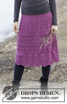 """Knitted DROPS skirt with lace pattern in """"Cotton Merino"""". Size: S - XXXL. ~ DROPS Design"""