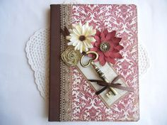Journal, notebook, smash book, in red and brown, with large gold key and hand made flowers