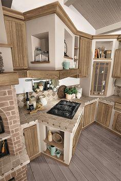 Rustic Country Kitchens, Rustic Kitchen Design, Farmhouse Style Kitchen, Dining Room Design, Kitchen Interior, Kitchen Decor, Tuscan Style Homes, Kitchen Modular, Home Design Plans