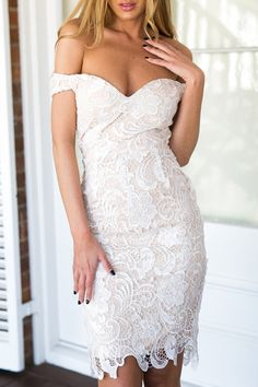 Off-The-Shoulder Openwork Lace Hook Dress WHITE: Club Dresses | ZAFUL