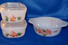 Vintage Gay Fad Peach Blossom set of three Fire King  refrigerator casserole dishes.