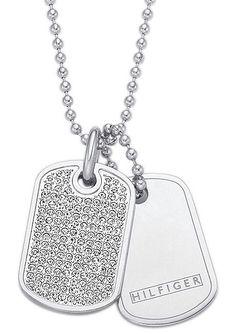 Tommy Hilfiger Jewelry Schmuck-Set, »2700747, Classic Signature« (3tlg.).  Aus Edelstahl, mit Swarovski-Kristallen, bestehend aus: 2 Anhängern ca. 17 mm breit und ca. 2,6 cm lang, Kette ca. 3 mm breit, ca. 61 cm lang,  Lieferung in einer TOMMY-HILFIGER-Verpackung....