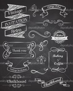 chalkboard and lettering designs. Chalkboard Drawings, Chalkboard Lettering, Chalkboard Designs, Vintage Chalkboard, Chalkboard Banner, Chalkboard Ideas, Chalkboard Clipart, Chalkboard Wall Art, Chalk Lettering
